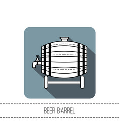 beer wooden barrel with a tap black and white vector image