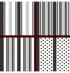 black and white vertical striped polka dot vector image vector image