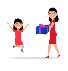 cartoon mother giving daughter a present vector image vector image