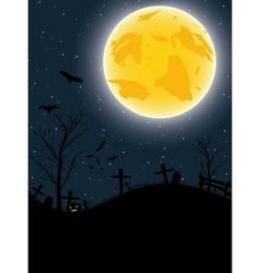 Halloween card with pumpkin bats and big moon vector image vector image