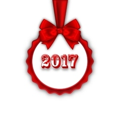 Happy New Year 2017 Card with Red Silk Ribbon and vector image
