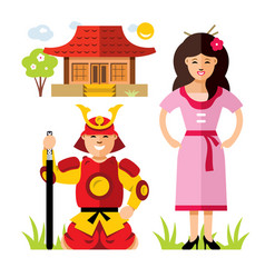 japan samurai flat style colorful cartoon vector image vector image