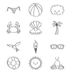 outlined icons decoration summer season vector image