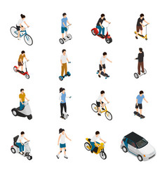 People riding personal eco vehicles vector