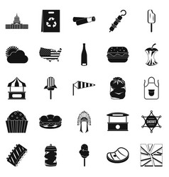 street eatery icons set simple style vector image