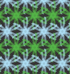 Textured ornament with green and blue linear stars vector image vector image