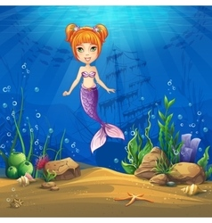 Undersea world with haired mermaid vector image
