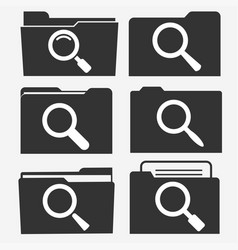 documents folder icon set with magnifying glass vector image vector image