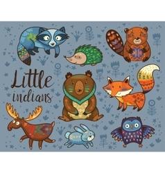 Little indians Woodland tribal animals set vector image