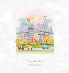 vintage invitation card with cute autumn cityscape vector image