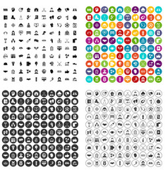 100 team icons set variant vector image