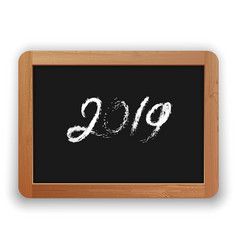 2019 chalk calligraphy on the blackboard vector