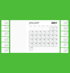 2021 calendar business planner print template vector