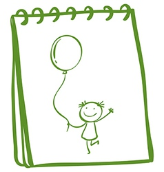 A notebook with a sketch of a young girl with a vector