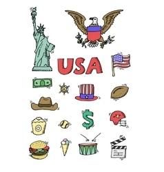 American Doodle set color vector image