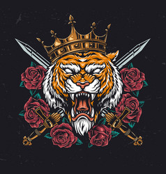 Angry tiger head in crown vector