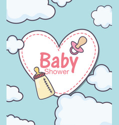 bashower sticker heart pacifier and feeding vector image