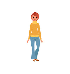 Beautiful young woman in sweater and jeans girl vector