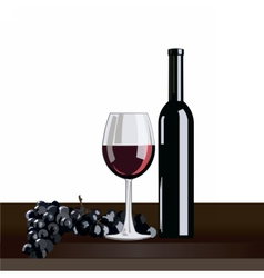 Bottle and glass of red wine with grapes vector