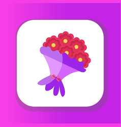 bouquet flowers icon flat design isolated on vector image