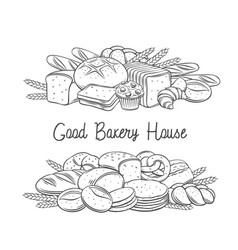 Breads baked products banner with lettering vector