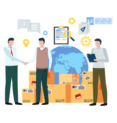 Business deal partners globe and parcels set vector