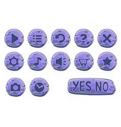 Buttons round small purple vector