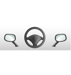 car steering wheel and side rear view mirrors vector image