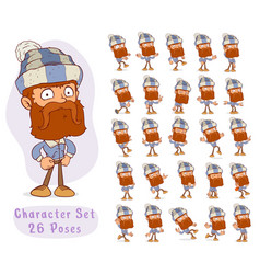 Cartoon bearded lumberjack big set for animation vector