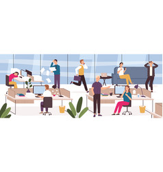 chaos in office work place with stressed lazy vector image
