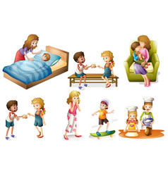 children and mother doing different activities vector image