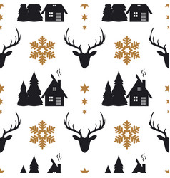 christmas seamless pattern with deers houses fir vector image
