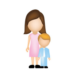 Color silhouette faceless with mother and son in vector