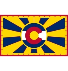 Colorado state sun rays banner vector