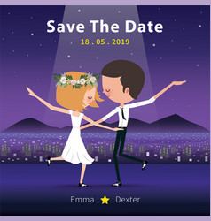 Couple dancing save the date invitation card vector