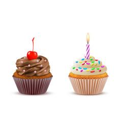 Cupcake realistic set vector