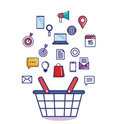 digital marketing icons with shopping basket vector image
