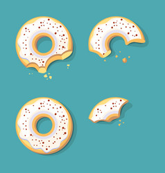 Eating donuts glazed sweet fast food ring cake vector