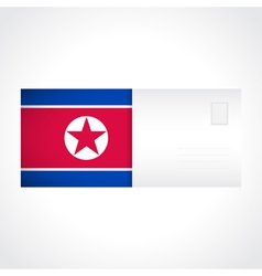 Envelope with flag of North Korea card vector image
