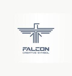 Falcon hawk spread wings eagle creative symbol vector
