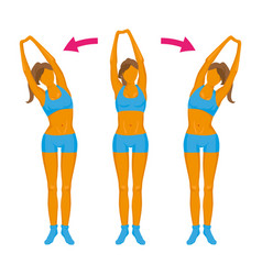 Fitness exercise girl doing a slope vector