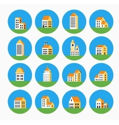 Flat colored building vector