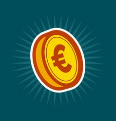 Gold euro coin vector