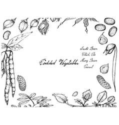 Hand drawn of podded vegetables frame vector