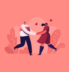 happy loving couple outdoors sparetime cheerful vector image