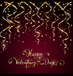 Happy valentines day with tinsel on dark vector