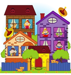 home with children in windows vector image