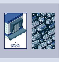 industrial engineering isometric building set of vector image