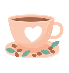 International day coffee cup with heart seeds vector