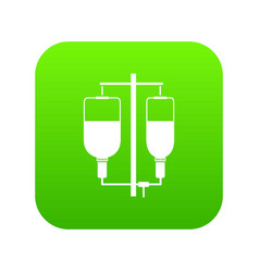 intravenous infusion icon digital green vector image
